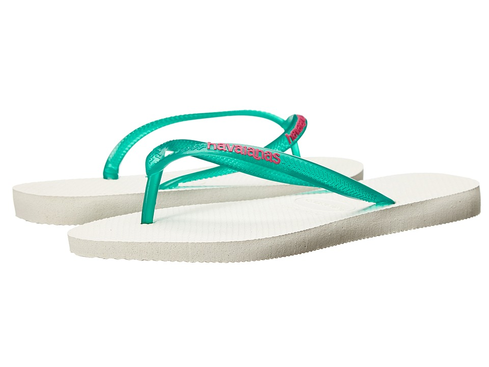 Havaianas - Slim Logo Pop-Up Flip Flops (White/Lake Green) Women's Sandals