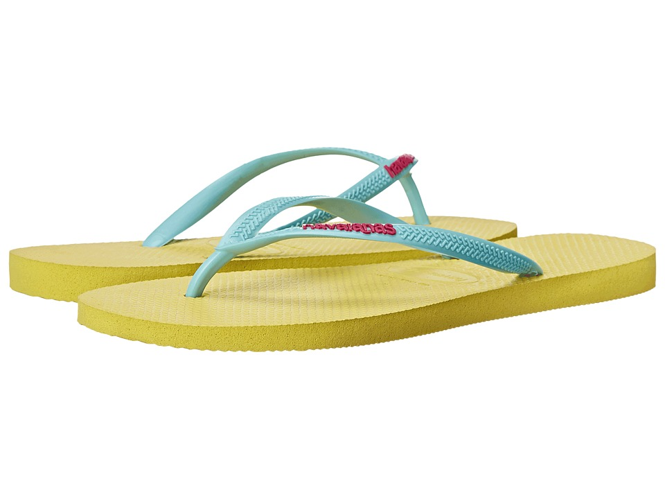 Havaianas Slim Logo Pop-Up Flip Flops (Revival Yellow) Women