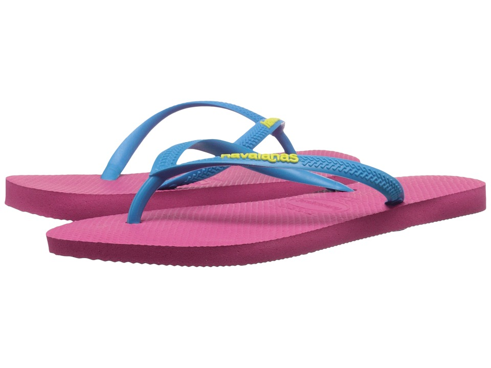 Havaianas - Slim Logo Pop-Up Flip Flops (Orchid Rose/Turquoise) Women's Sandals