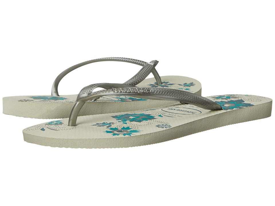 Havaianas - Slim Organic Flip Flops (White/Silver) Women's Sandals