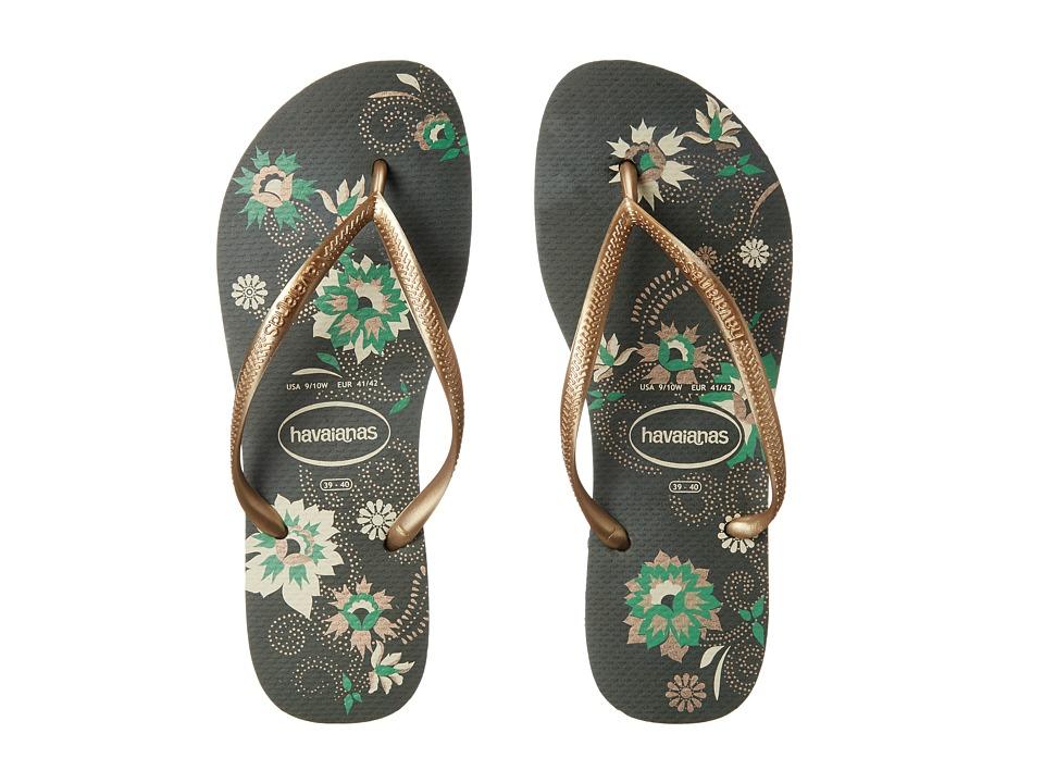 Havaianas - Slim Organic Flip Flops (Green Olive) Women's Sandals