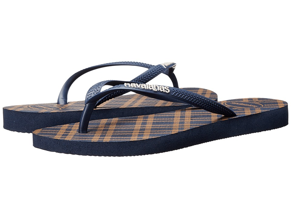 Havaianas - Slim Retro Flip Flops (Navy Blue) Women's Sandals