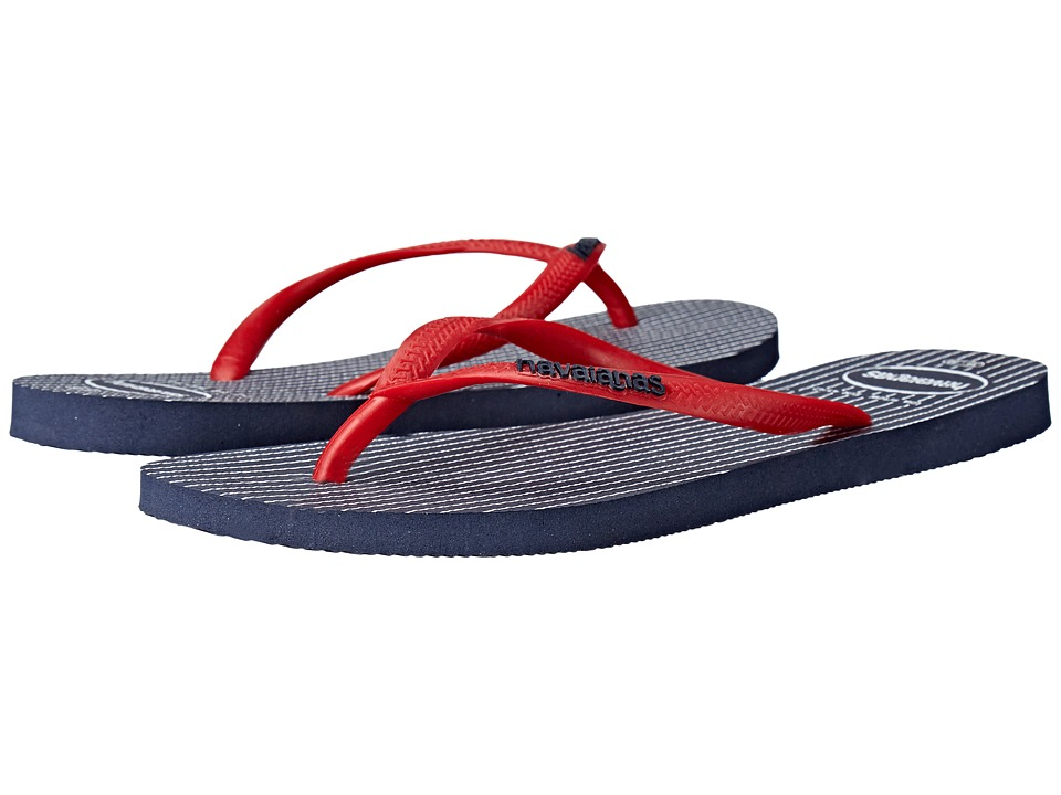 Havaianas - Slim Retro Flip Flops (Navy/Red) Women's Sandals