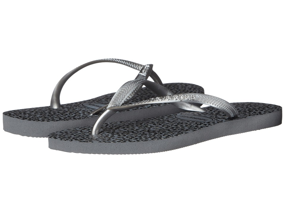 Havaianas Slim Animals Flip Flops (Steel Grey) Women
