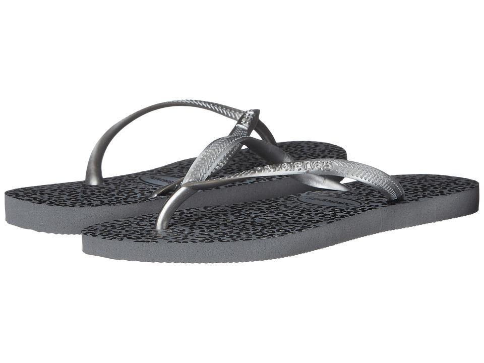 Havaianas - Slim Animals Flip Flops (Steel Grey) Women's Sandals
