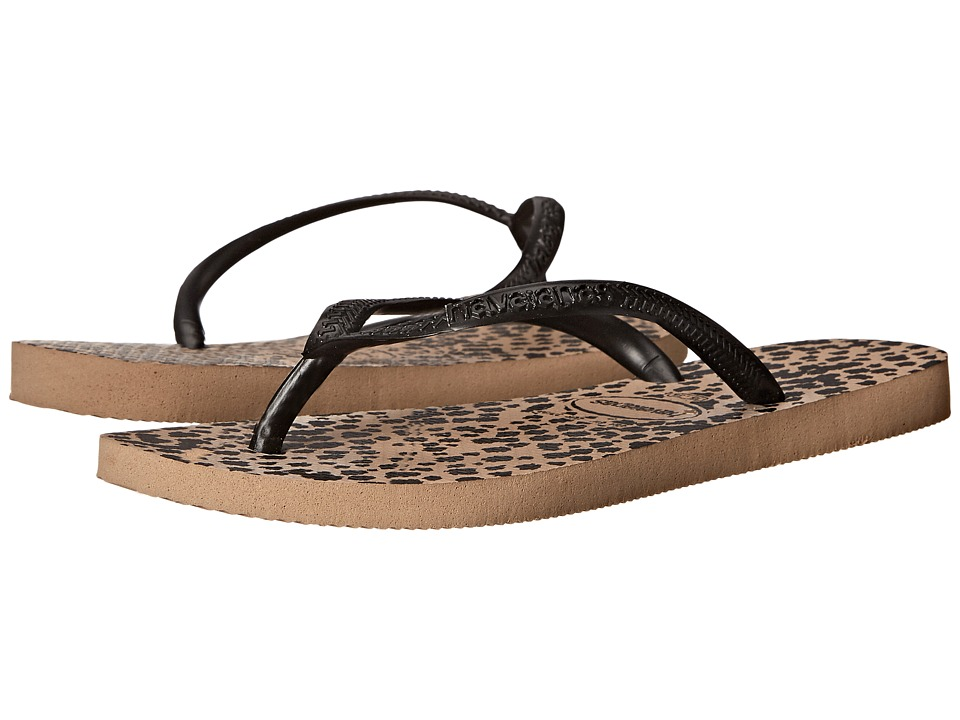 Havaianas - Slim Animals Flip Flops (Rose Gold/Black) Women's Sandals