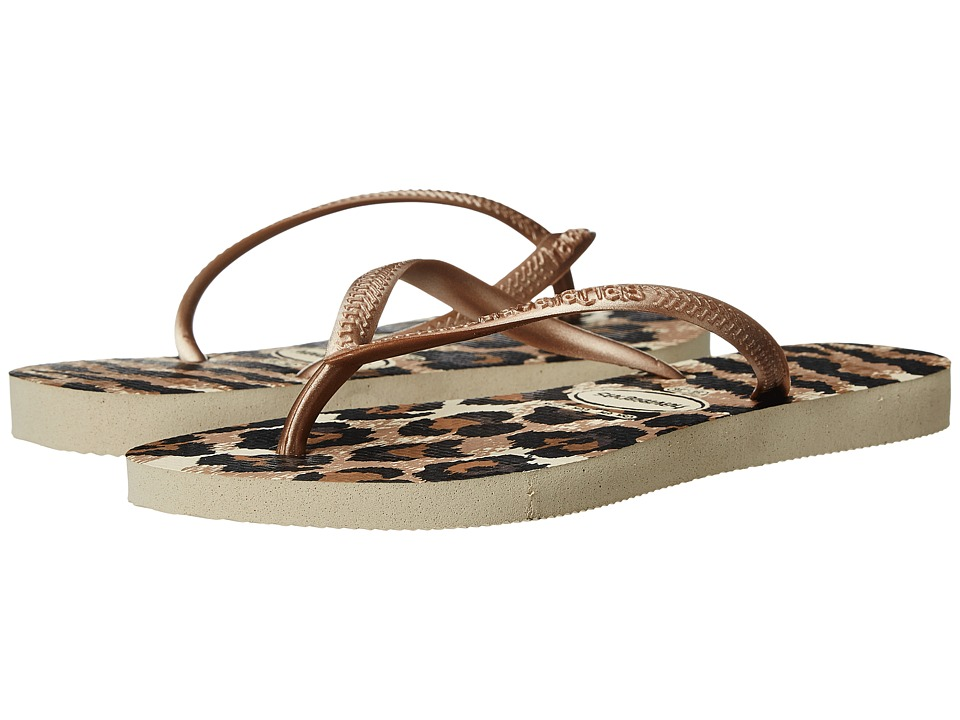 Havaianas Slim Animals Flip Flops (Beige/Rose Gold) Women