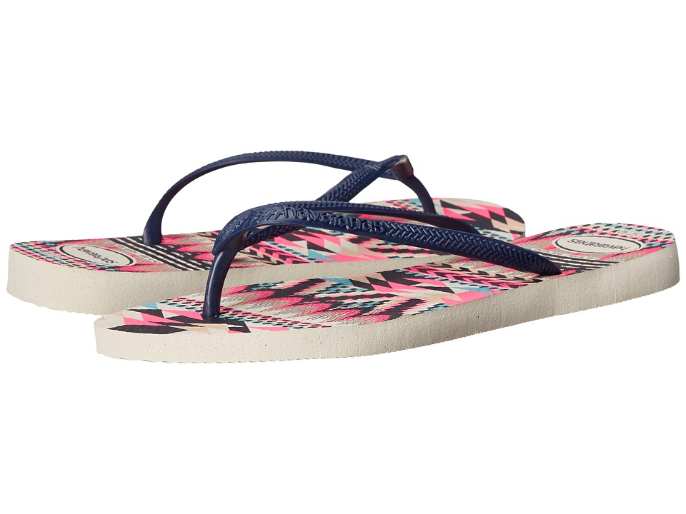 Havaianas - Slim Tribal Flip Flops (White/Navy Blue) Women's Sandals