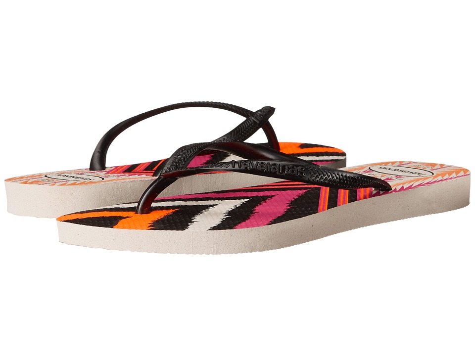 Havaianas - Slim Tribal Flip Flops (White/Black) Women's Sandals