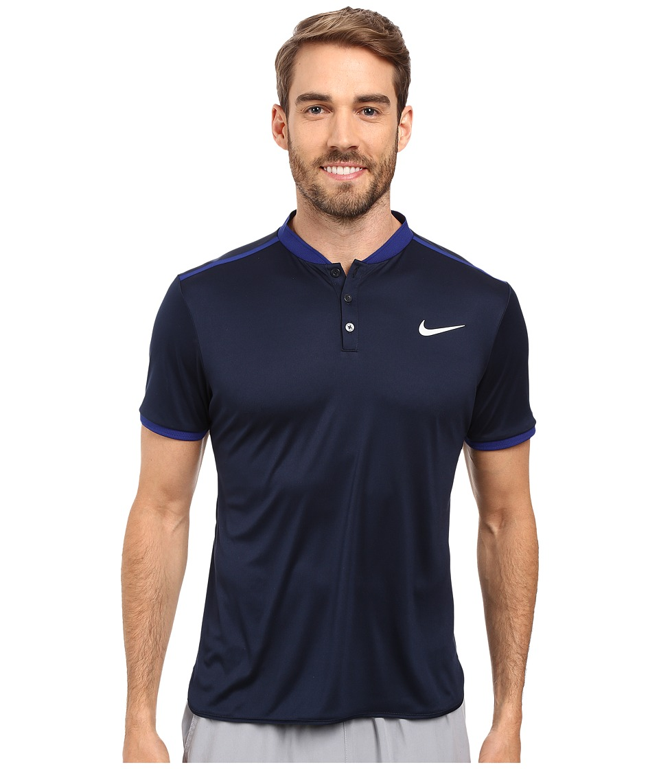 Nike - Court Advantage Premier Tennis Polo (Obsidian/Deep Royal Blue/Black/White) Men's Short Sleeve Pullover