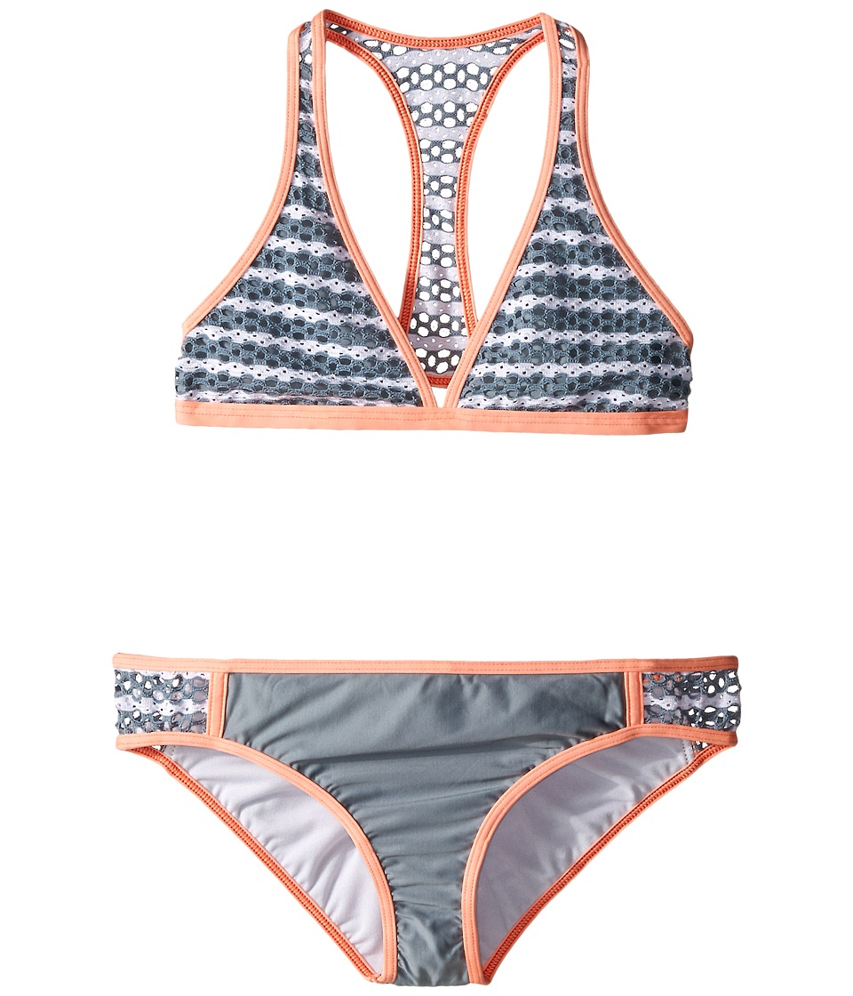Splendid Littles - Avalon Eyelet Halter Retro Pants (Big Kids) (Grey) Girl's Swimwear Sets
