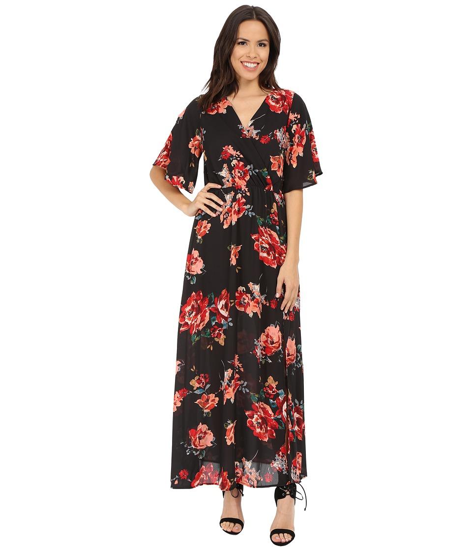 Brigitte Bailey - Betty Bell Sleeve Floral Overlap Maxi (Charcoal) Women's Dress