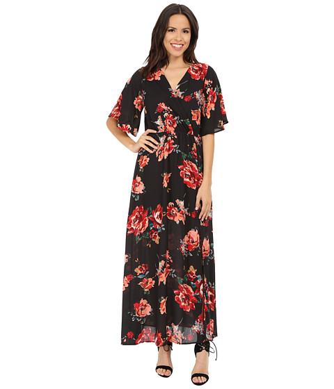 Brigitte Bailey - Betty Bell Sleeve Floral Overlap Maxi (Charcoal) Women