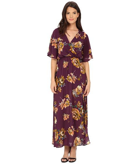 Brigitte Bailey - Betty Bell Sleeve Floral Overlap Maxi (Plum) Women
