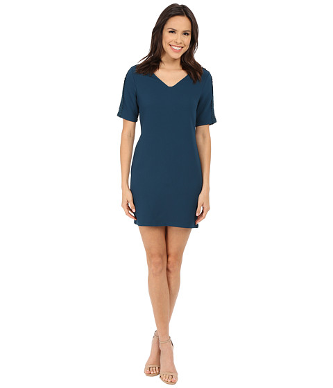 Brigitte Bailey - Dinah Shift Dress w/ Shoulder Lace Detail (Teal) Women's Dress