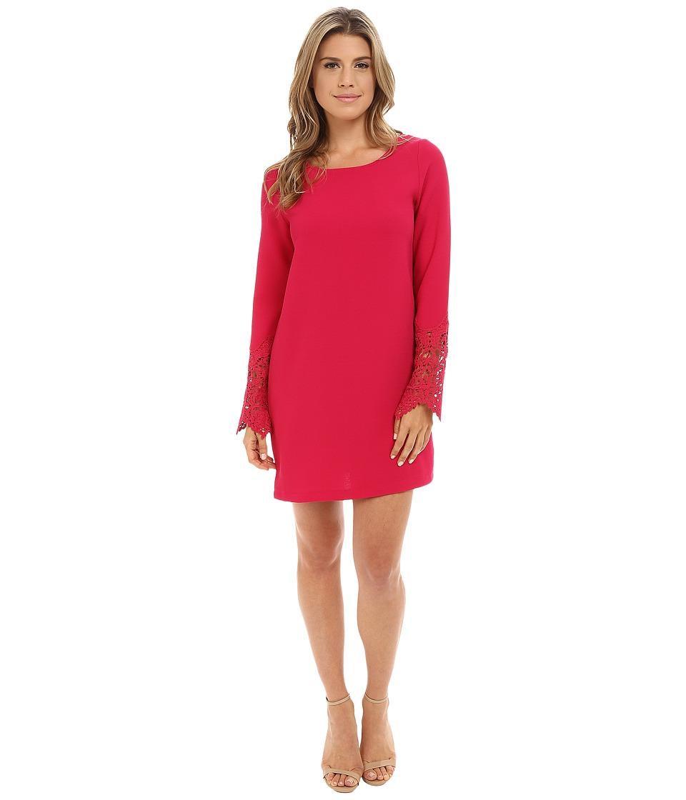 Brigitte Bailey - Florence Woven Dress w/ Lace Sleeves (Magenta) Women