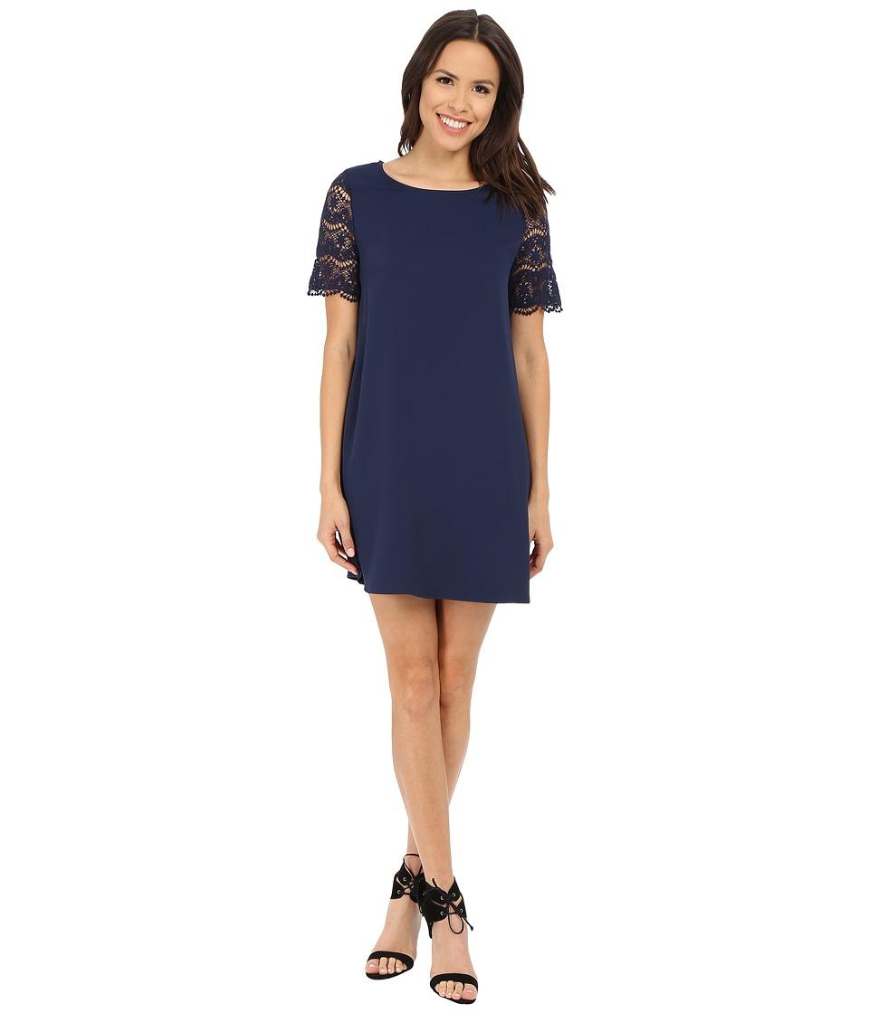Brigitte Bailey - Blanche Shift Dress w/ Lace Sleeves (Navy) Women