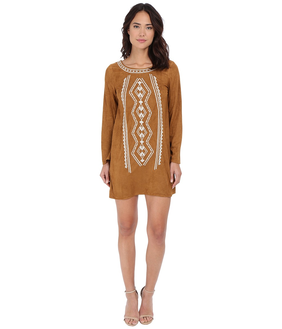 Brigitte Bailey - Abella Suede Embroidered Shift Dress (Camel) Women's Dress
