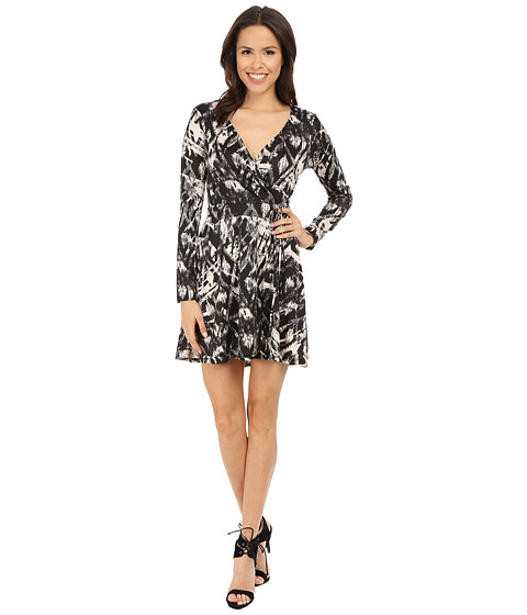 Brigitte Bailey - Edna Printed Overlap Dress (Black/White) Women