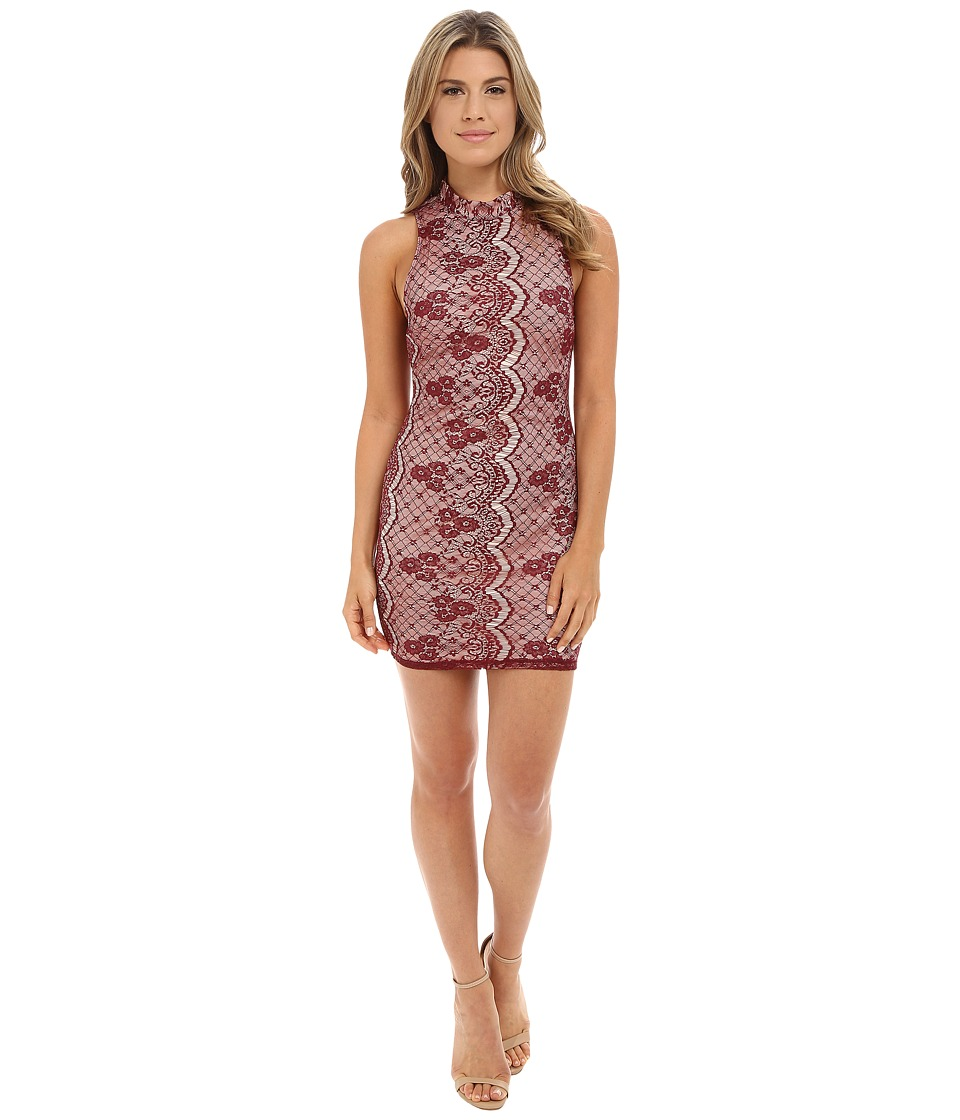 Brigitte Bailey - Pamela Lace Fitted Dress (Wine/Champagne) Women's Dress