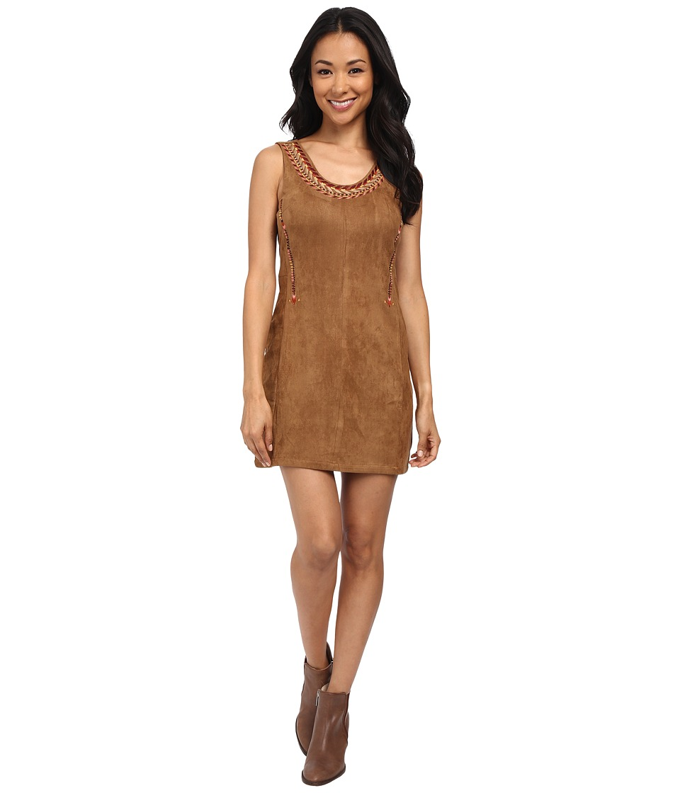 Brigitte Bailey - Daria Faux Suede Embroidered Dress (Camel) Women