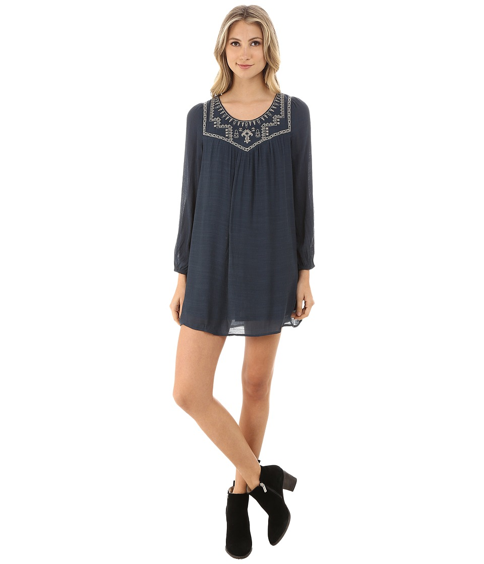 Brigitte Bailey - Leilani Embroidered Long Sleeve Dress (Navy) Women's Dress