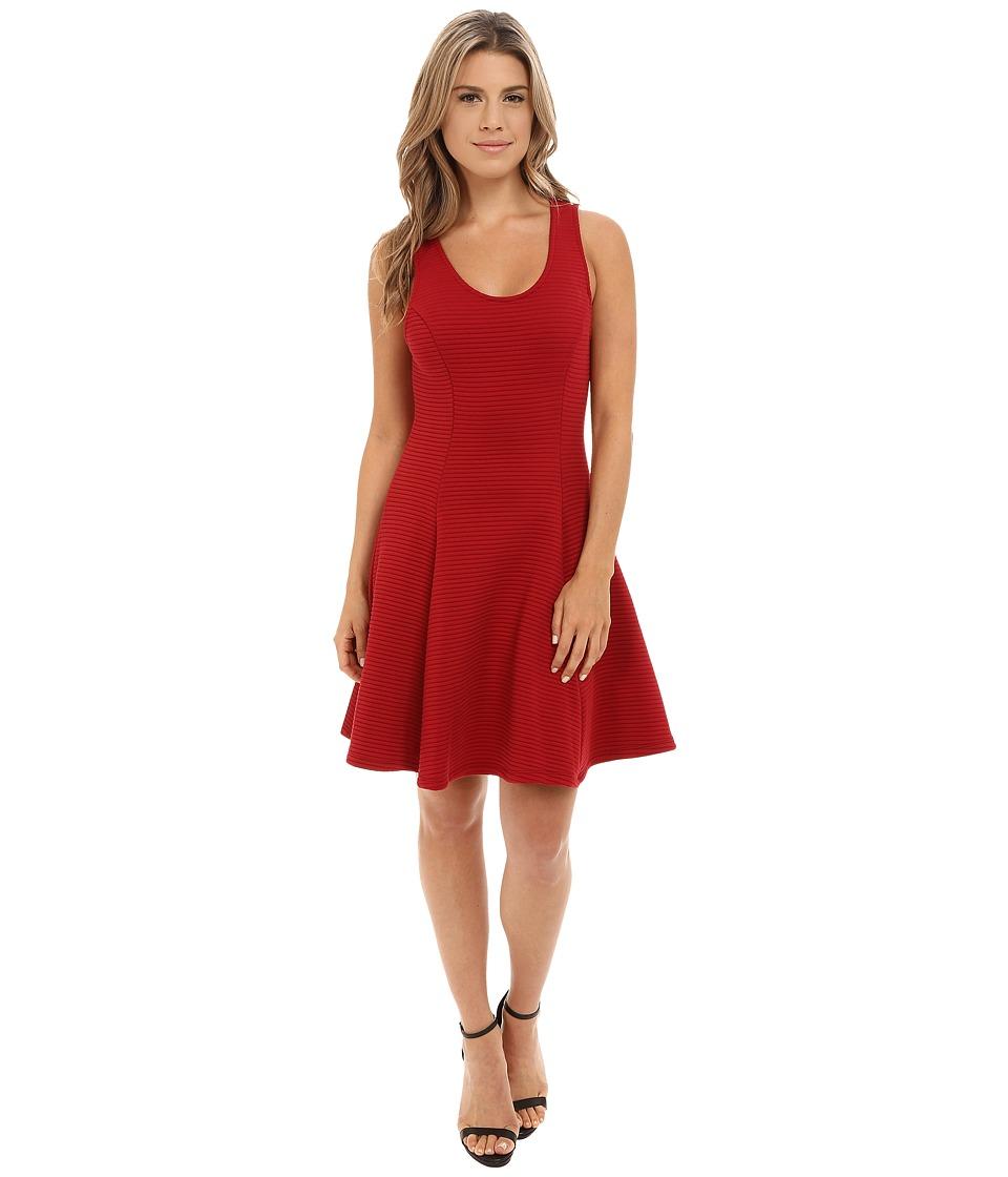 Brigitte Bailey - Deirdra Ribbed Fit Flare Dress (Red) Women's Dress