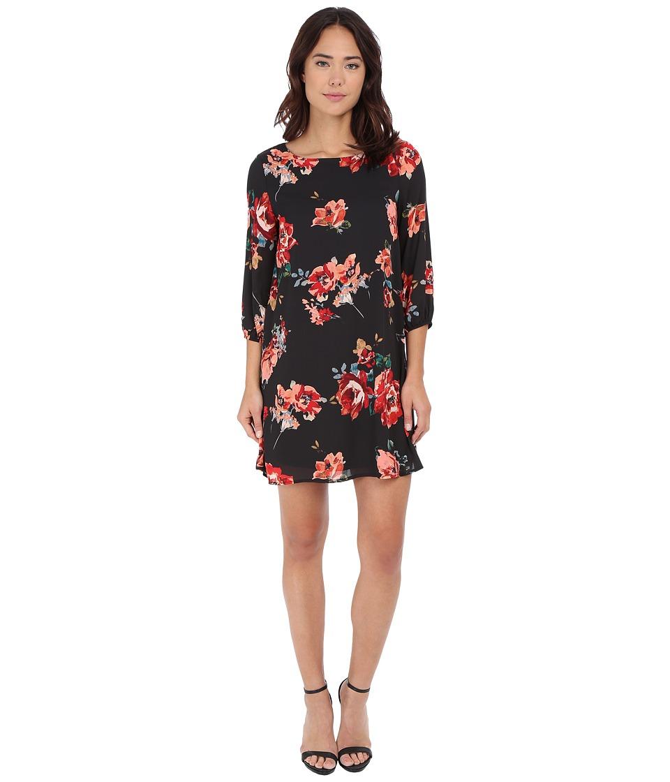 Brigitte Bailey - Bernadette 3/4 Sleeve Floral Shift Dress (Charcoal) Women's Dress