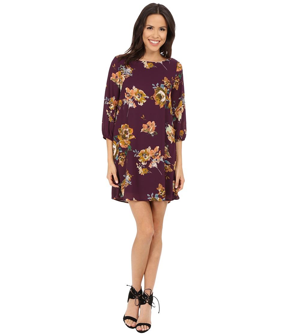 Brigitte Bailey - Bernadette 3/4 Sleeve Floral Shift Dress (Plum) Women's Dress