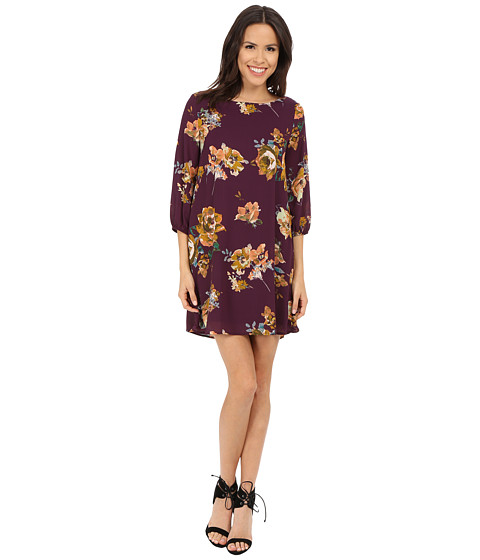 Brigitte Bailey - Bernadette 3/4 Sleeve Floral Shift Dress (Plum) Women