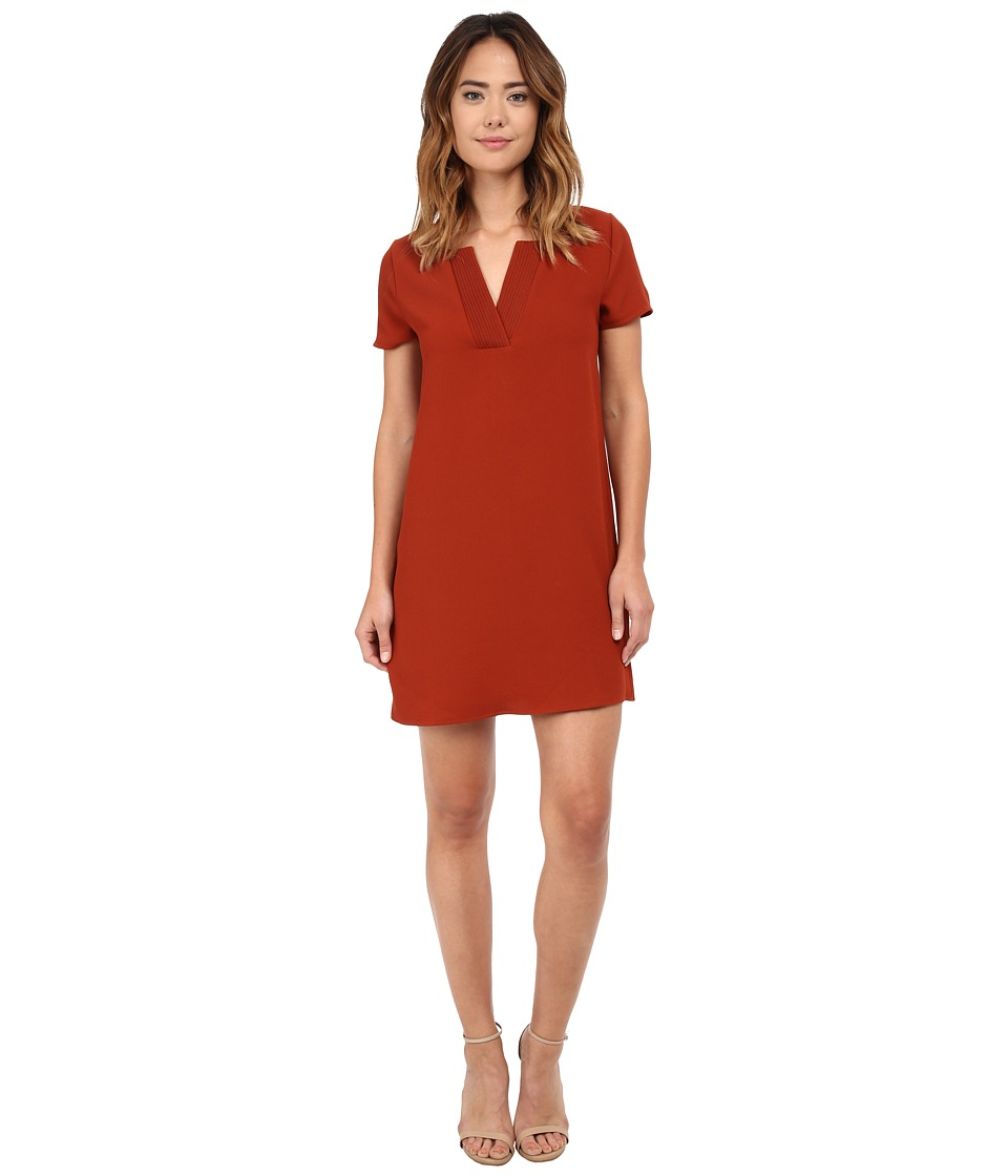 Brigitte Bailey - Gail Woven V-Neck Shirt Dress (Burnt Orange) Women's Dress