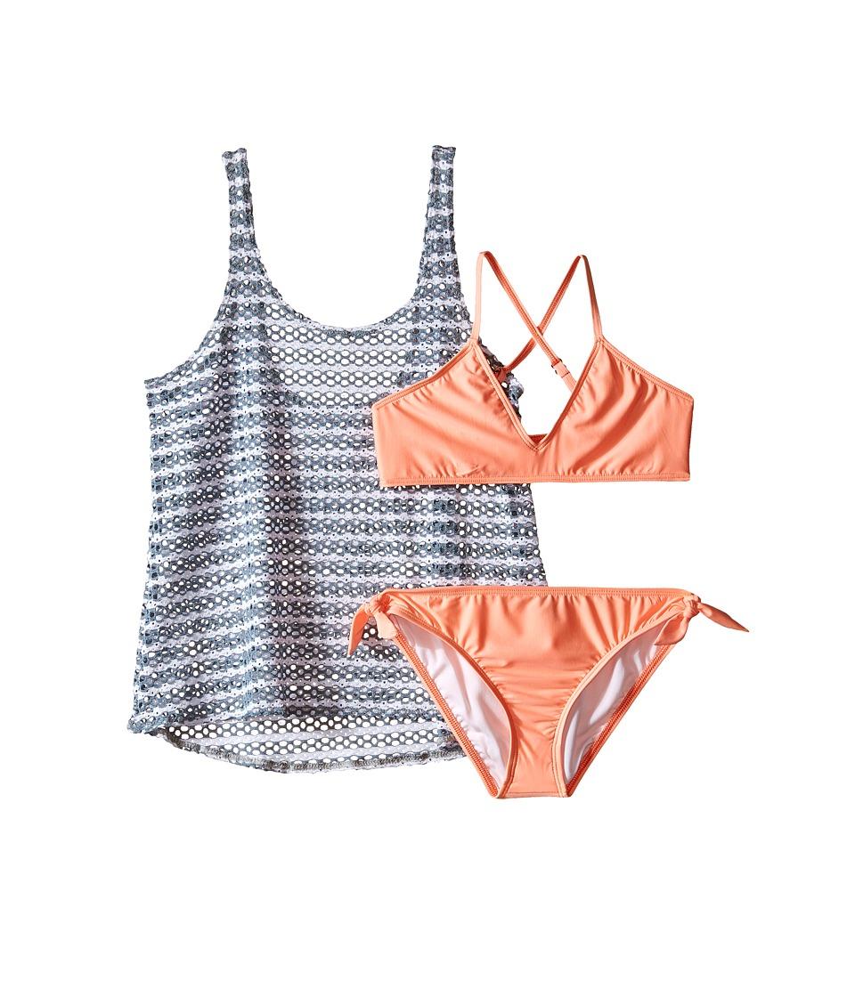 Splendid Littles - Avalon Eyelet Double Dip Hipster w/ Ties (Big Kids) (Grey) Girl's Swimwear Sets