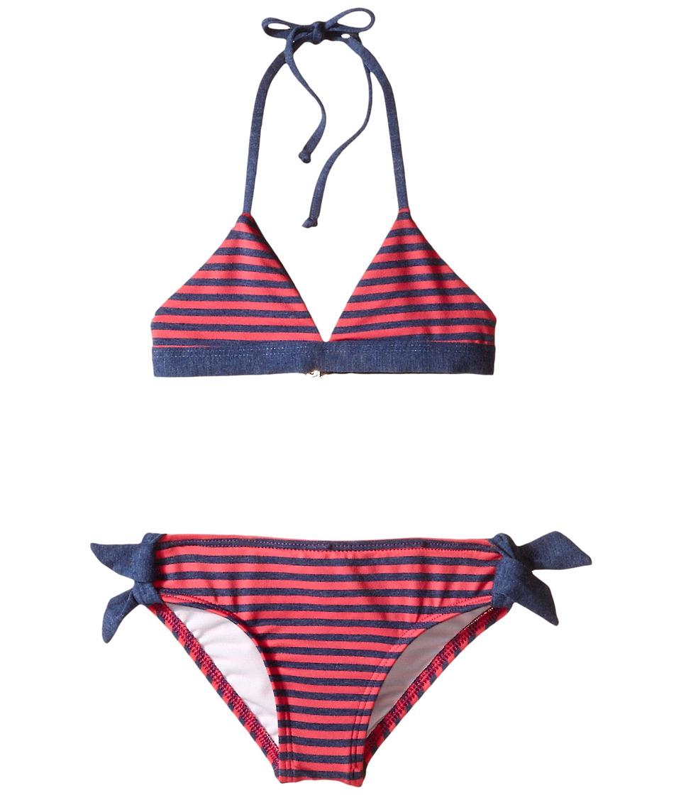 Splendid Littles Malibu Stripe Reversible Triangle Bra Retro w/ Ties (Little Kids) (Pink) Girl