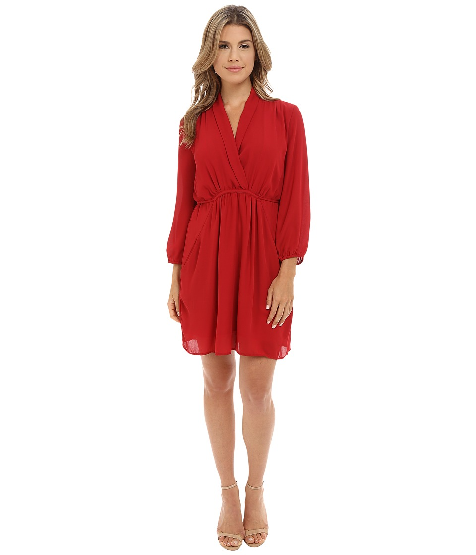 Brigitte Bailey - Alessandra Overlap Dress w/ Pockets (Burgundy) Women