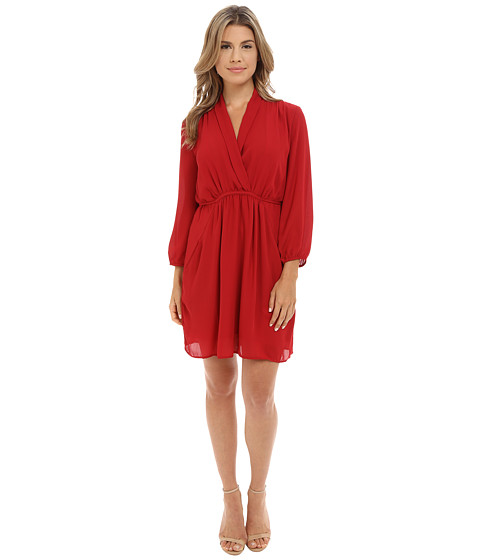 Brigitte Bailey - Alessandra Overlap Dress w/ Pockets (Burgundy) Women's Dress