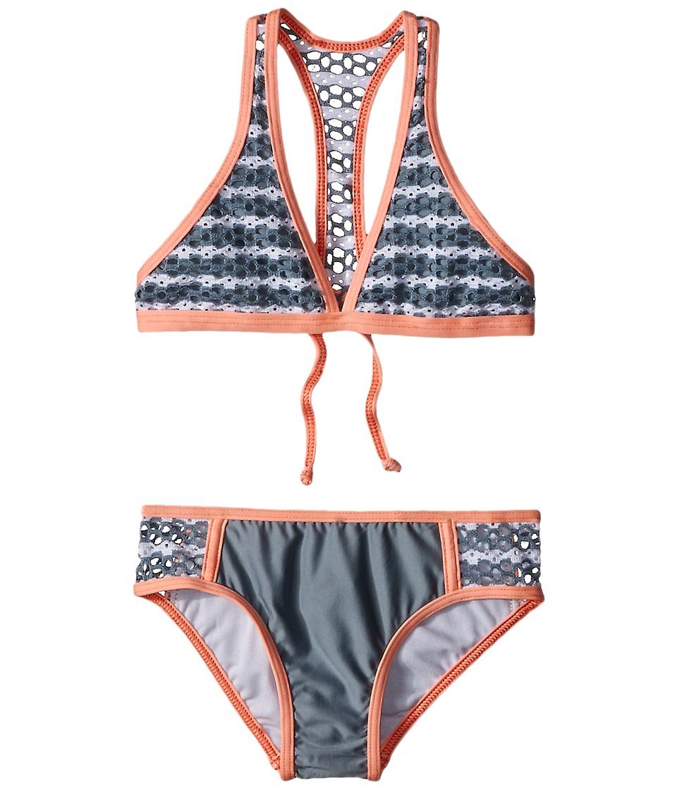 Splendid Littles - Avalon Eyelet Halter Retro Pants (Little Kids) (Grey) Girl's Swimwear Sets