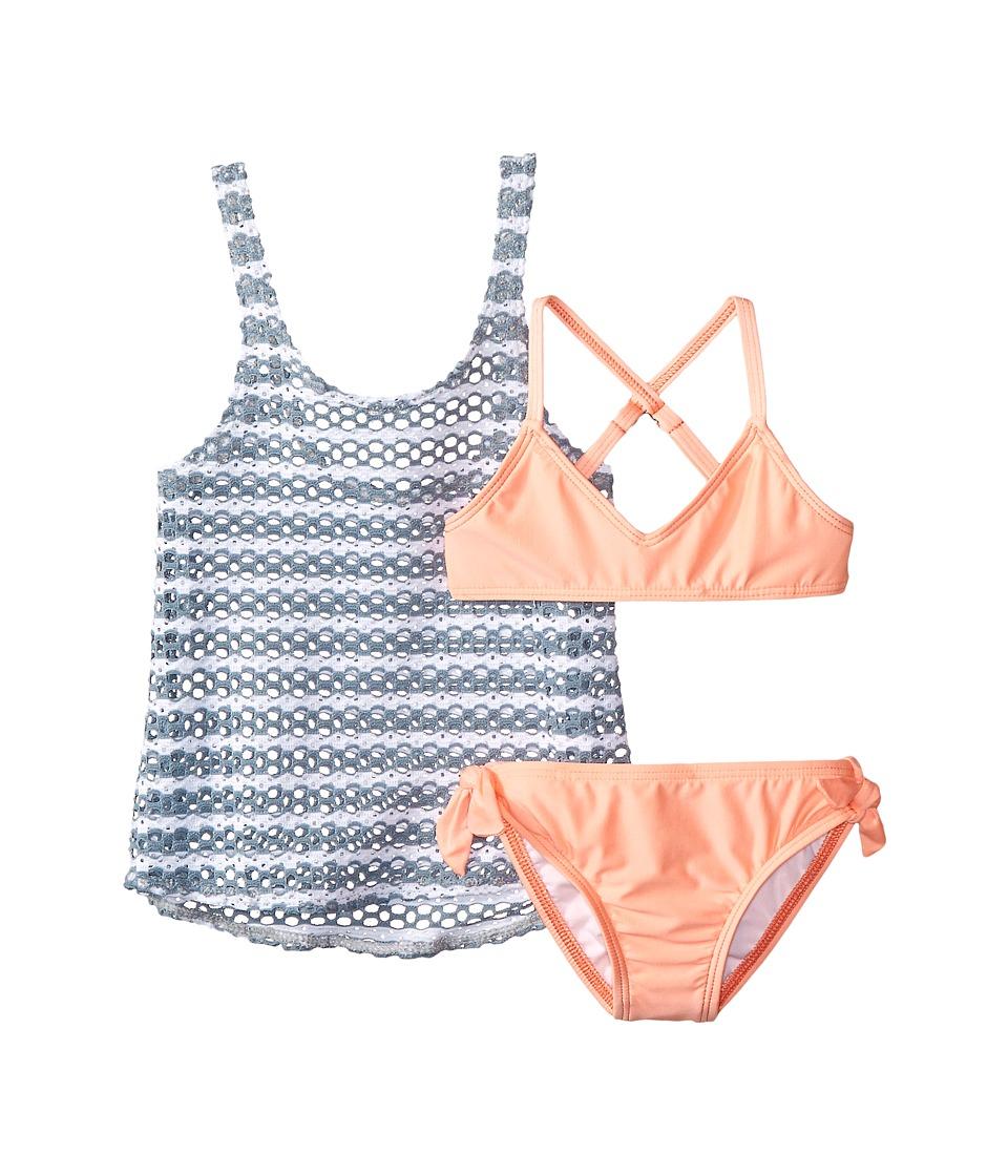 Splendid Littles - Avalon Eyelet Double Dip Retro w/ Ties (Little Kids) (Grey) Girl's Swimwear Sets