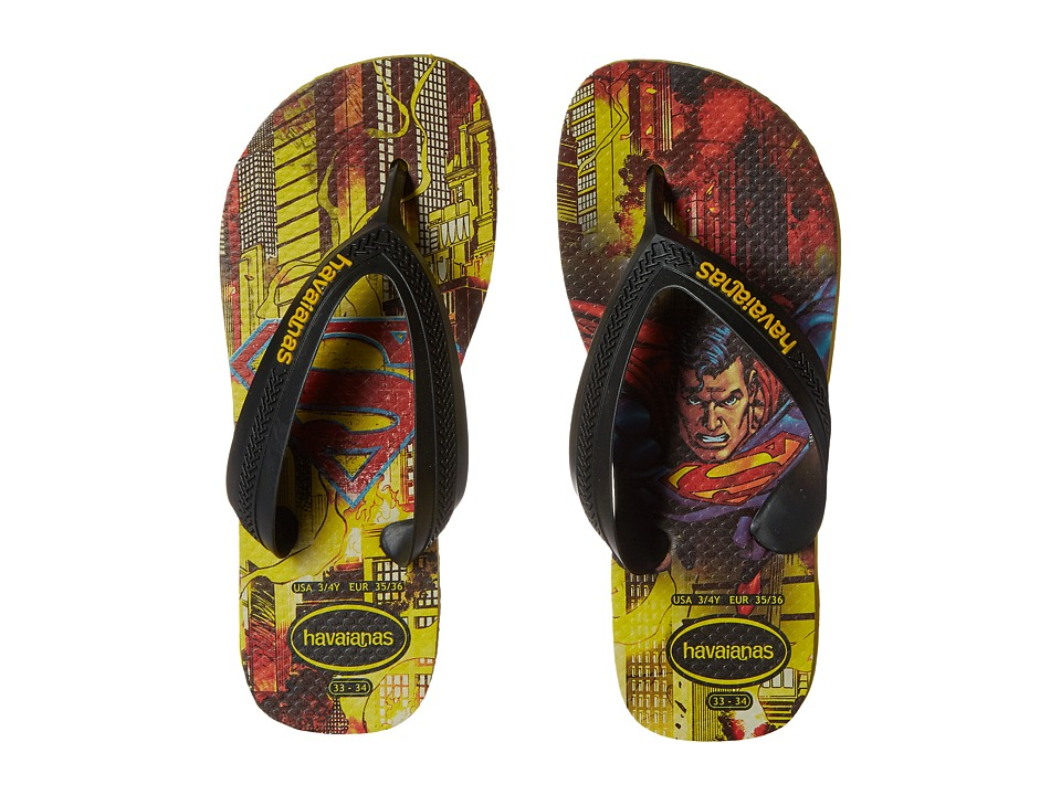 Havaianas Kids - Max Heroes (Toddler/Little Kid/Big Kid) (Black/Citrus Yellow) Boys Shoes