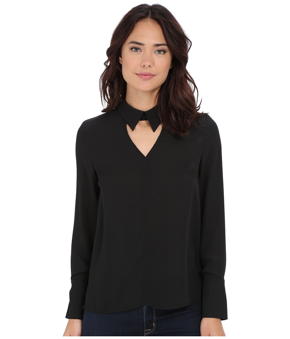 Brigitte Bailey - Jemima Long Sleeve Collared Top w/ Keyhole (Black) Women's Blouse