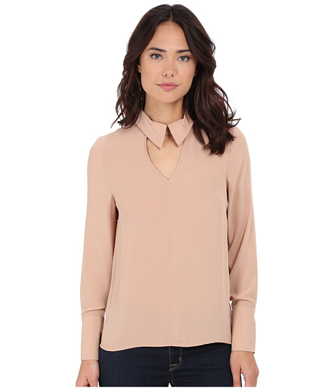 Brigitte Bailey - Jemima Long Sleeve Collared Top w/ Keyhole (Blush) Women's Blouse