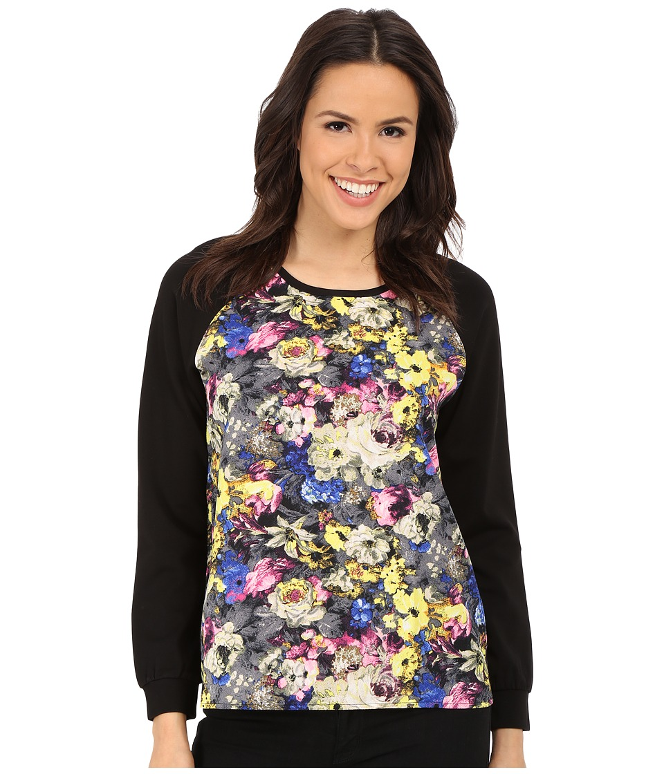 Brigitte Bailey - Imani Floral Baseball Tee (Black/Multi) Women's Clothing