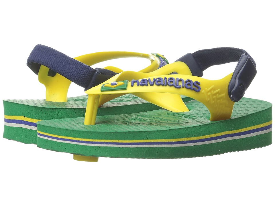 Havaianas Kids - Baby Brasil Logo Flip Flops (Toddler) (Green) Boy's Shoes