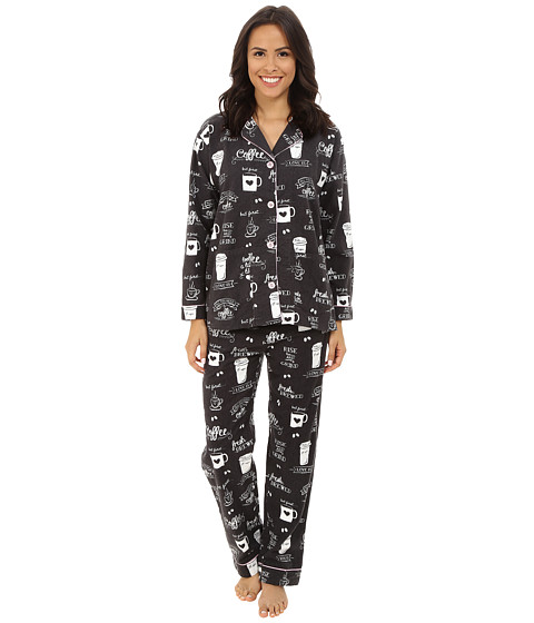 P.J. Salvage - Fall into Flannel Coffee Print Pajama Set (Smoke) Women