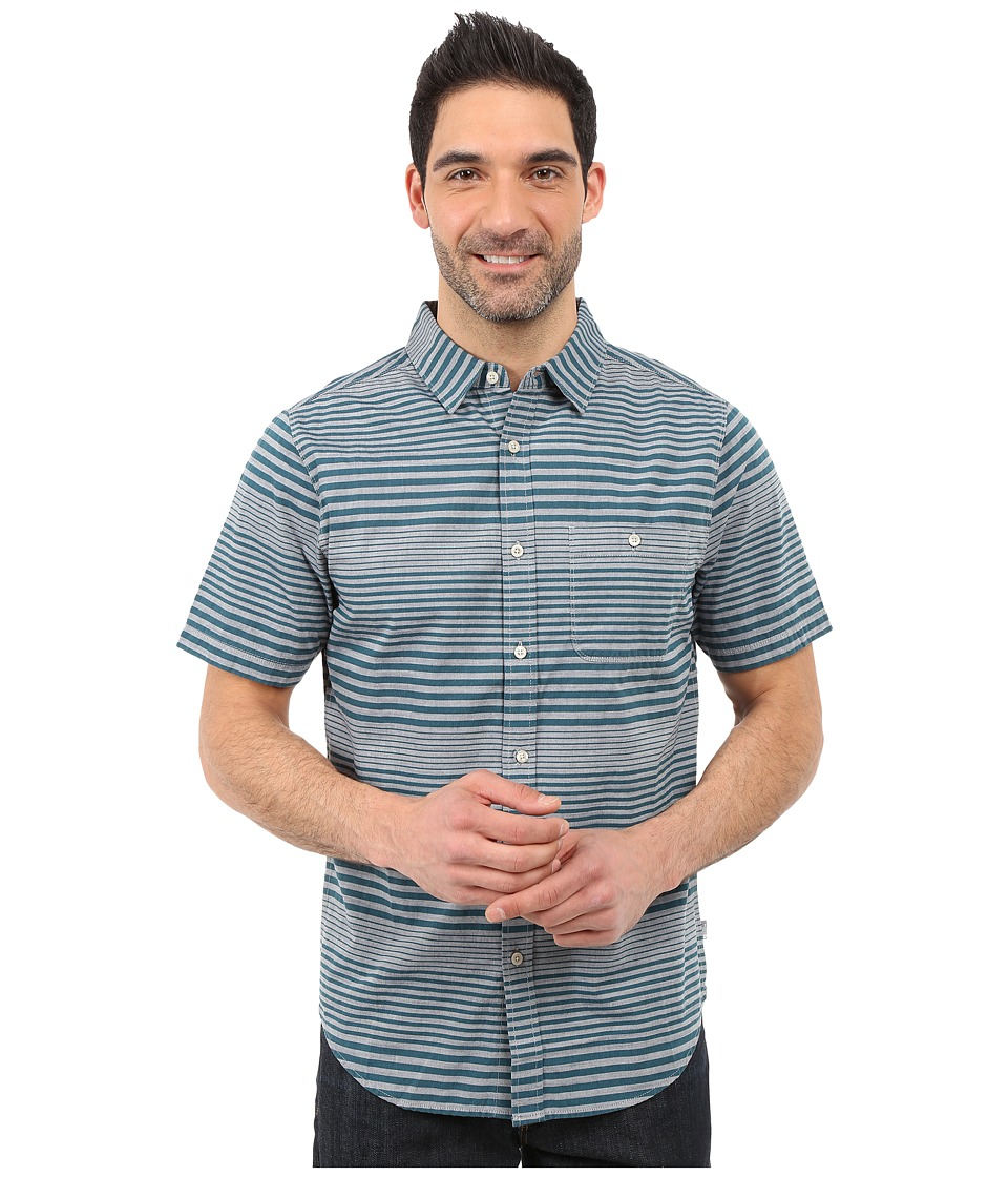 The North Face - Short Sleeve Engine Stripe Shirt (Limoges Blue) Men's Short Sleeve Button Up