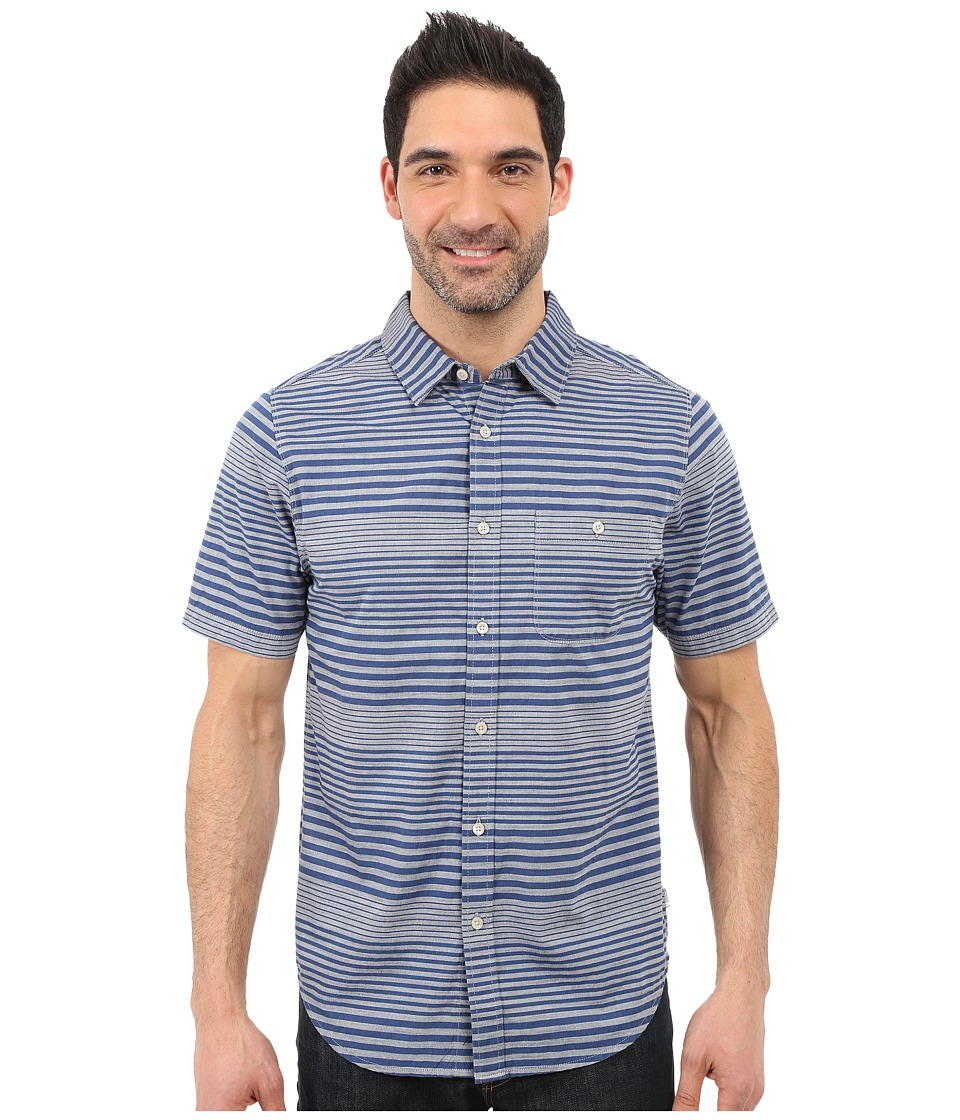 The North Face - Short Sleeve Engine Stripe Shirt (Blue Coral) Men's Short Sleeve Button Up
