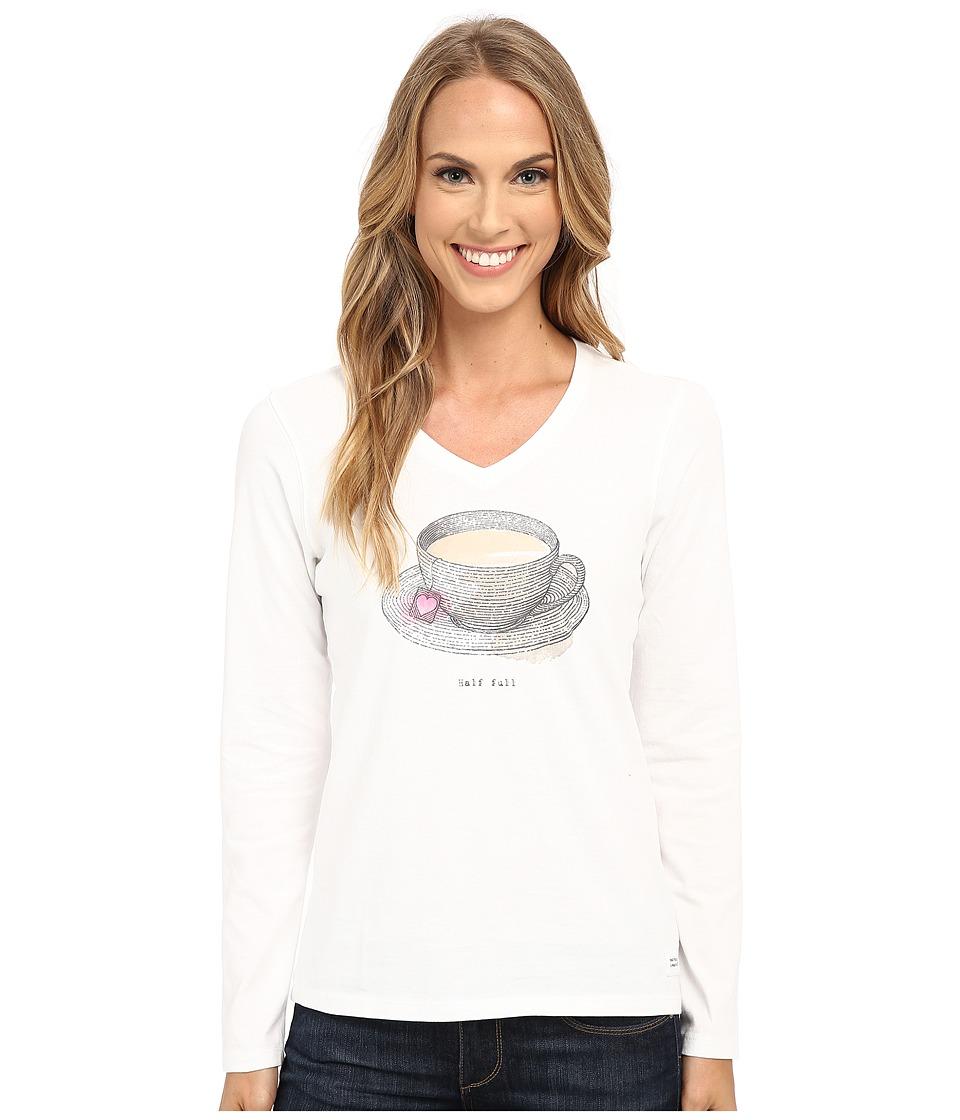 Life is good - Half Full Crusher Vee Long Sleeve (Cloud White) Women's Long Sleeve Pullover