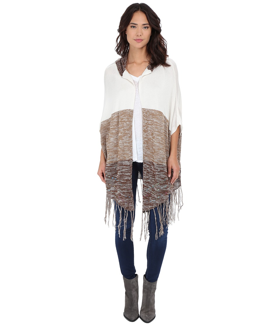 Brigitte Bailey - Alina Cardigan w/ Fringe (Cream/Brown) Women