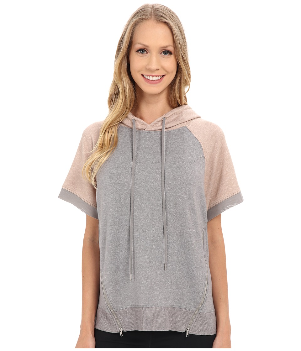 Zobha - Short Sleeve Pullover w/ Color Blocking and Mesh Contrast (Heather Grey) Women's Short Sleeve Pullover