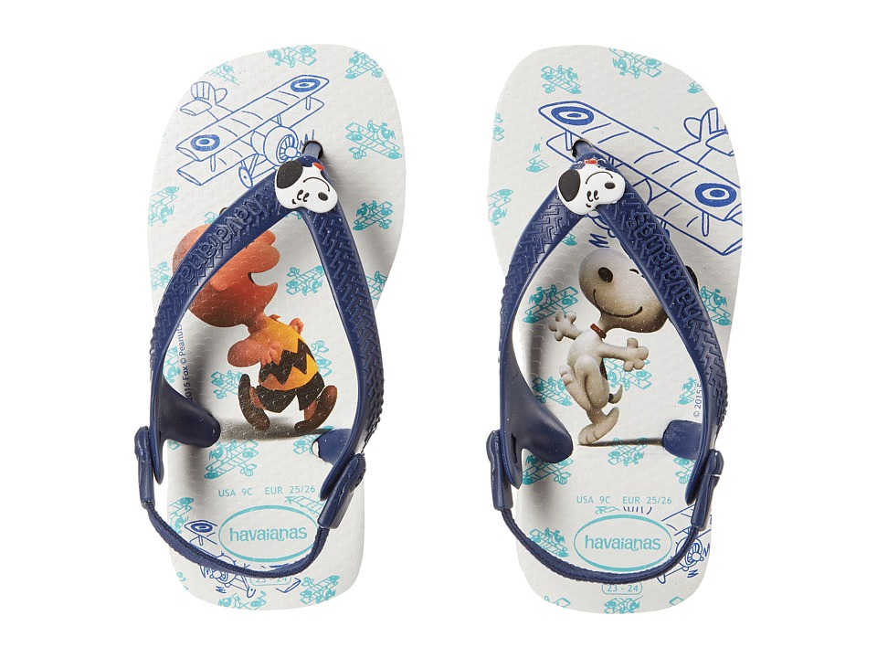 Havaianas Kids - Snoopy Flip Flop (Toddler) (White/Navy Blue) Boys Shoes