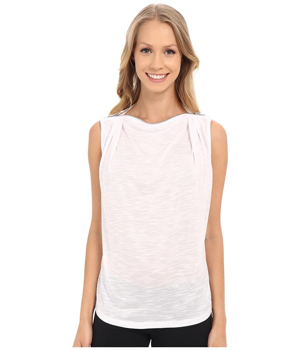 Zobha - Sleeveless Drape Top w/ Zipper Neckline (Bright White) Women's Sleeveless